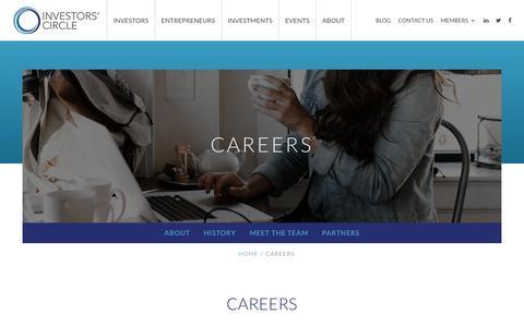 Screenshot of Jobs Page investorscircle.net - Careers | Investors' Circle - captured July 13, 2018