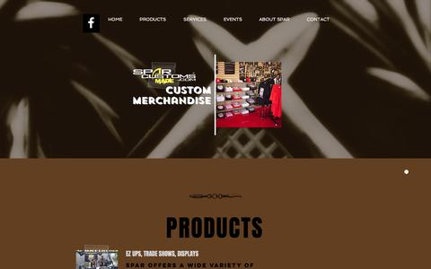 Screenshot of Products Page sparcustoms.com - Spar Customs: custom merchandise   PRODUCTS - captured May 10, 2017