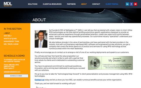 Screenshot of About Page mydealerlot.com - MyDealerLot - Optimizing Customer Interactions - captured Nov. 11, 2015