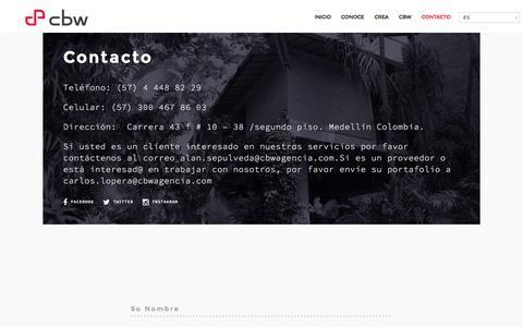 Screenshot of Contact Page cbwagencia.com - Contacto - CBW - captured March 28, 2016