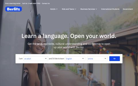 Screenshot of Home Page berlitz.com - Language Instruction and Training - Berlitz - captured Feb. 17, 2019