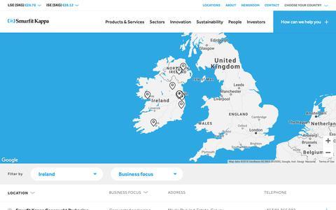 Screenshot of Locations Page smurfitkappa.com - Smurfit Kappa Location Finder | 350 Locations | 33 Countries - captured Oct. 19, 2018