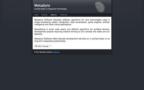 Screenshot of About Page metadyne.com - Metadyne.com - About - captured Oct. 27, 2014