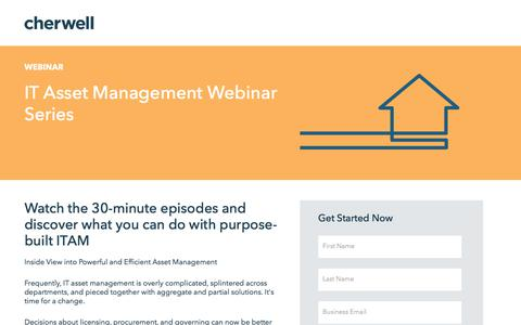 Screenshot of Landing Page cherwell.com - IT Asset Management Webinar Series | Cherwell Software - captured Dec. 14, 2019