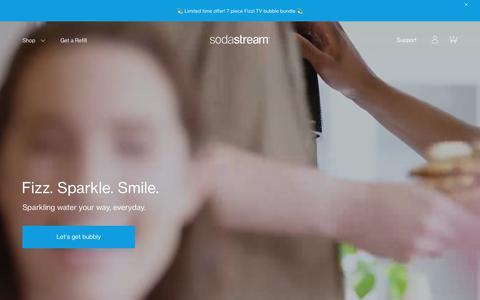 Screenshot of Home Page sodastream.com - Fizz. Sparkle. Smile. – SodaStream - captured June 8, 2018