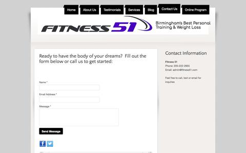 Screenshot of Contact Page fitness51.com - Contact Us - captured Aug. 14, 2018