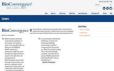 Screenshot of Jobs Page bioc.us - Careers - BioConvergence LLC - captured Oct. 5, 2014