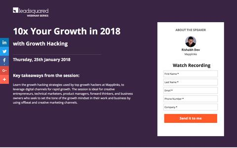Screenshot of Landing Page leadsquared.com - [Free Webinar] 10x Your Growth in 2018 with Growth Hacking - captured March 5, 2018