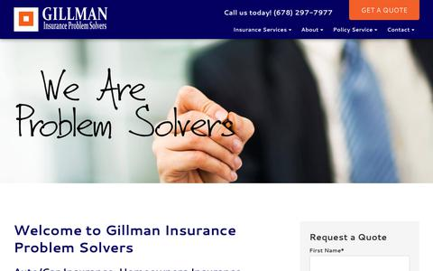 Screenshot of Home Page gillmanins.com - Insuring Alpharetta & Georgia | Gillman Insurance - captured Aug. 2, 2017