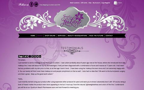 Screenshot of Testimonials Page sweetleilani.com - Testimonials - Sweet LeiLani - captured Oct. 6, 2014