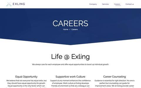 Screenshot of Jobs Page exling.com - Careers – Exling - captured Sept. 30, 2018