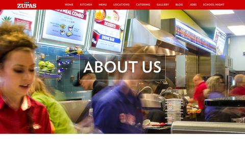 Screenshot of About Page Contact Page cafezupas.com - Café Zupas |   About Us - captured Nov. 9, 2015