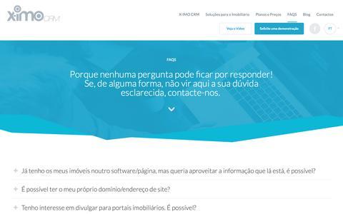 Screenshot of FAQ Page ximo.pt - FAQs - CRM imobiliário - captured Oct. 29, 2018