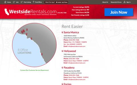 Screenshot of Contact Page Locations Page westsiderentals.com - Apartment Rentals in Los Angeles, Orange County and San Diego - captured Oct. 26, 2014