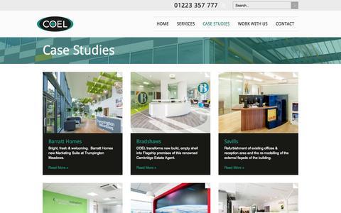 Screenshot of Case Studies Page coel.uk.com - Case Studies - captured Sept. 26, 2014