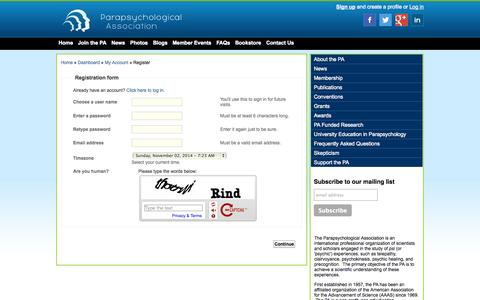 Screenshot of Signup Page parapsych.org - Create Account - The Parapsychological Association - captured Nov. 2, 2014