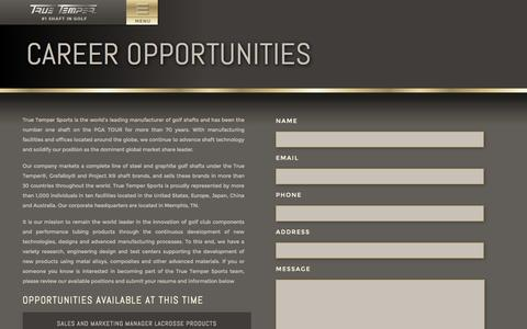 Screenshot of Jobs Page truetemper.com - True Temper Golf - captured Sept. 19, 2014