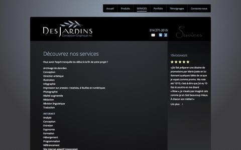 Screenshot of Services Page djcg.qc.ca - Marie-Josée Desjardins: design graphique, corporatif et entreprise. - captured Oct. 5, 2014