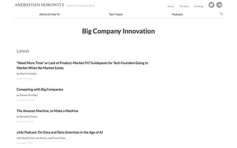 big company innovation – Andreessen Horowitz