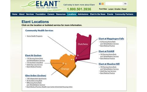 Screenshot of Locations Page elant.org - Elant offers a full continuum of care including Short-term Rehabilitation Services, Nursing Home Care, Assisted Living and Adult Day Care | Elant | Hudson Valley's Premier Provider of Health and Housing Solutions - captured Dec. 7, 2018