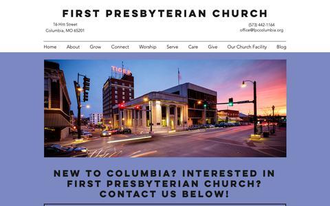 Screenshot of FAQ Page fpccolumbia.org - Contact & FAQ's | First Presbyterian Church - captured Oct. 31, 2018