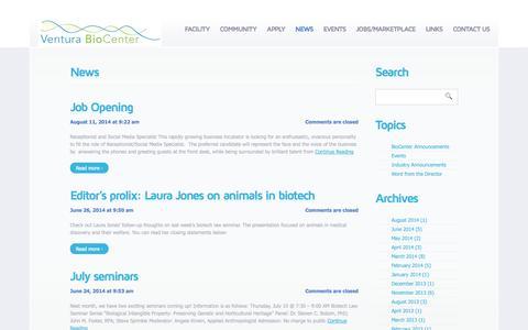 Screenshot of Press Page venturabiocenter.com - Ventura BioCenter - captured Oct. 9, 2014
