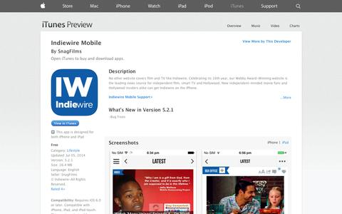 Screenshot of iOS App Page apple.com - Indiewire Mobile on the App Store on iTunes - captured Oct. 29, 2014