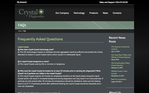 Screenshot of FAQ Page crystaldiagnostics.com - FAQ's - Crystal Diagnostics - captured Sept. 17, 2014