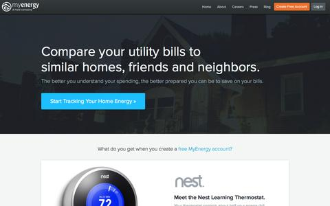 Screenshot of Signup Page myenergy.com - Compare Average Utility Bills & Save Money with MyEnergy - captured Feb. 19, 2016