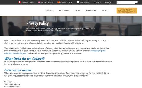 Screenshot of Privacy Page higher-education-marketing.com - Privacy Policy - captured Oct. 4, 2019