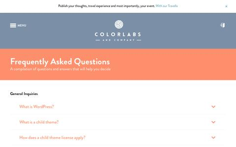 Screenshot of FAQ Page colorlabsproject.com - Frequently Asked Questions | Colorlabs & Company - captured Oct. 20, 2015