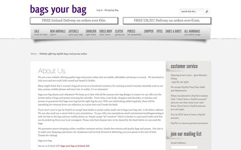 Screenshot of About Page bagsyourbag.ie - Website offering stylish bags and purses online - captured Sept. 30, 2014