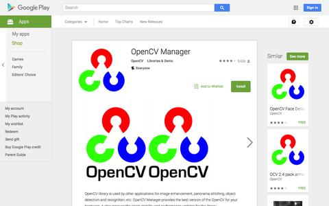Screenshot of Android App Page google.com - OpenCV Manager - Android Apps on Google Play - captured Nov. 25, 2015