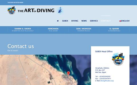 Screenshot of Contact Page subex.org - Contact any of our 5 SUBEX Diving Centers on the Red Sea in Egypt - captured Oct. 30, 2018