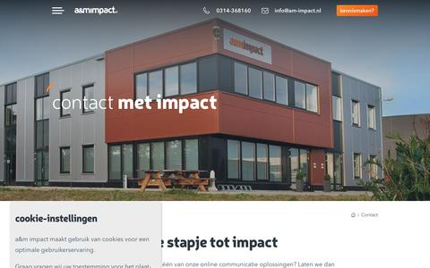 Screenshot of Contact Page am-impact.nl - Contact - a&m impact - captured Sept. 27, 2018