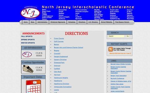 Screenshot of Maps & Directions Page njicathletics.org - NJIC - captured Nov. 1, 2014