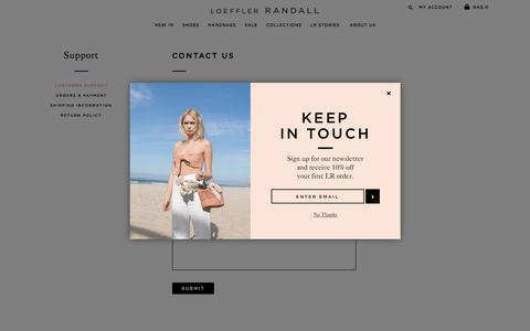 Screenshot of Support Page loefflerrandall.com - Loeffler Randall    Customer Support - captured July 22, 2018