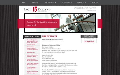 Screenshot of Maps & Directions Page lacykatzen.com - Downtown Rochester | Lacy Katzen | Directions to Law Office Locations - captured Oct. 1, 2014