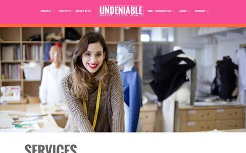Screenshot of Services Page undeniable.co - Services   St. Louis Web Design, Content Marketing & SEO - captured Dec. 18, 2016