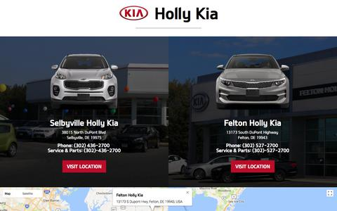 Screenshot of Home Page hollykia.com - Dover Group dealer in Felton DE - New and Used Group dealership Seaford Blades Georgetown Felton DE - captured July 21, 2018