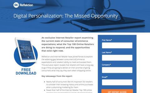 Screenshot of Landing Page reflektion.com - Digital Personalization: The Missed Opportunity - captured April 25, 2018