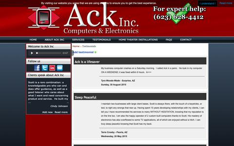 Screenshot of Testimonials Page ackinccomputers.com - Ack Inc. | Our Happy Customer Testimonials - captured Oct. 3, 2018
