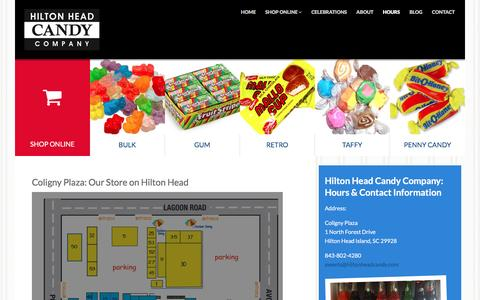 Screenshot of Hours Page hiltonheadcandy.com - Hours - captured March 23, 2016