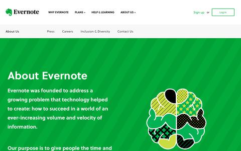 Screenshot of About Page evernote.com - About Evernote: Our story and our mission | Evernote - captured Aug. 24, 2018