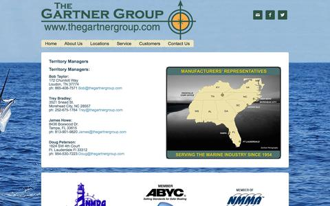 Screenshot of Locations Page thegartnergroup.com - Territory Managers - captured Feb. 15, 2016