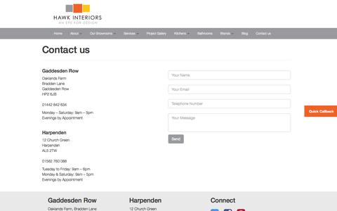 Screenshot of Contact Page hawkinteriors.co.uk - Hawk Interiors Contact Details | Contact Hawk Interiors - captured Sept. 29, 2014