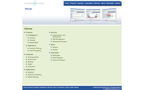 Screenshot of Site Map Page solutions4planning.com - S4P - Sitemap - captured Sept. 21, 2018