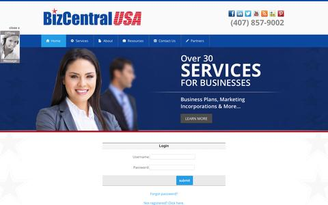 Screenshot of Login Page bizcentralusa.com - Small Business Services | Small Business Solutions | BizCentralUSABizCentralUSA | Your Business Development Resource Partner - captured Sept. 30, 2014