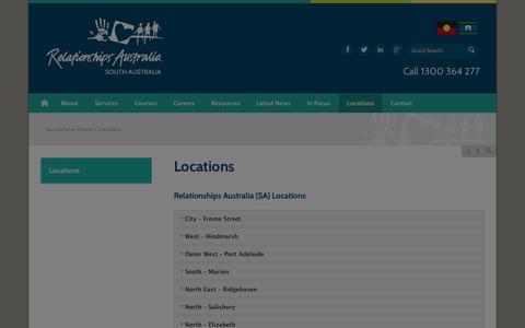 Screenshot of Locations Page rasa.org.au - Locations - Relationships Australia SA - captured Oct. 26, 2014