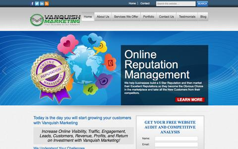 Screenshot of Home Page vanquishmarketing.com - Vanquish Marketing – Full Service Digital Marketing Agency | Your Success is Our Mission! - captured Oct. 7, 2014